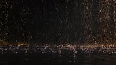 Raindrops Fall on the Luminous Surface of the Water