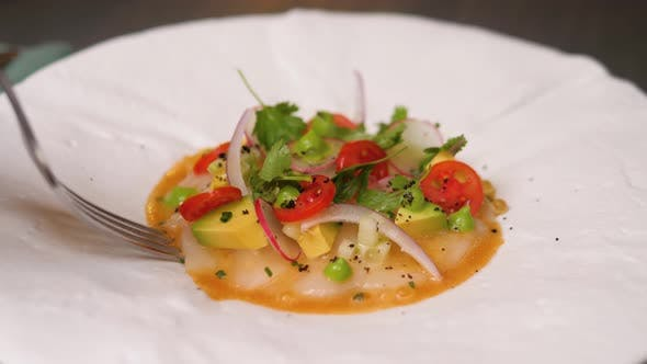 Thumbnail for Steamed Scallop Ceviche White Fish with Salad and Tartar Sauce with Appliances