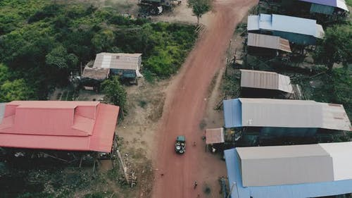 Aerial Shot of Moving Vehicle Unveiling a Local Community