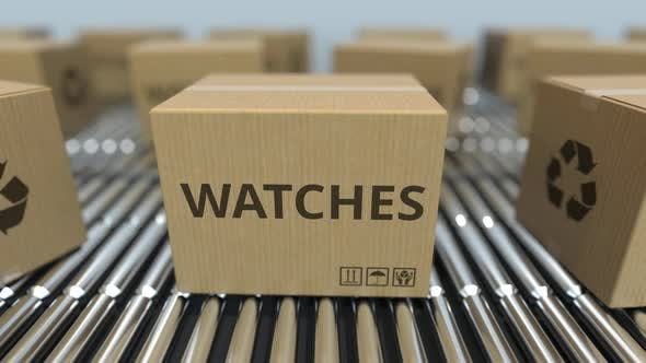 Thumbnail for Cartons with Watches on Roller Conveyors