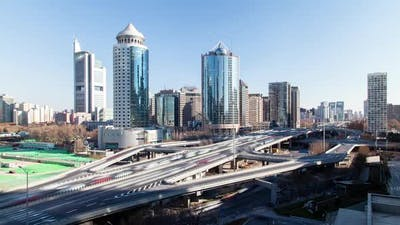 Beijing Central Business District Towers in China Timelapse