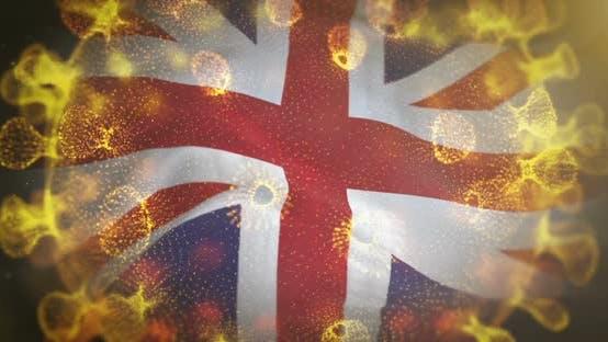 United Kingdom Flag With Corona Virus Bacteria Centered