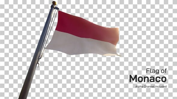 Thumbnail for Monaco Flag on a Flagpole with Alpha-Channel