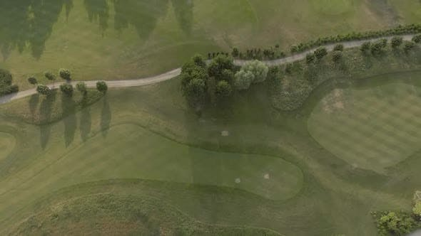 Thumbnail for Aerial View of Large Luxury Golf Course. View of the Green Lawns and Trees. Shooting From Above, Top