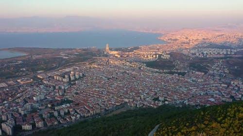 Panorama of Izmir City at Sunset Turkey