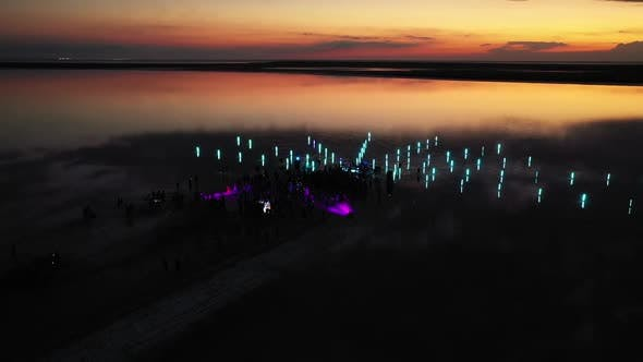Light Show Seashore During Big Beach Party Open Air Concert