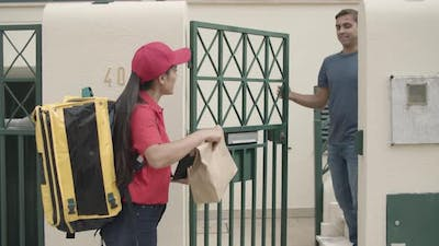 Food Courier Ringing Doorbell