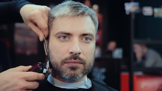 Man with Gray Hair Cuts His Beard in the Salon. Hairdresser Working with a Hair Clipper. Portrait