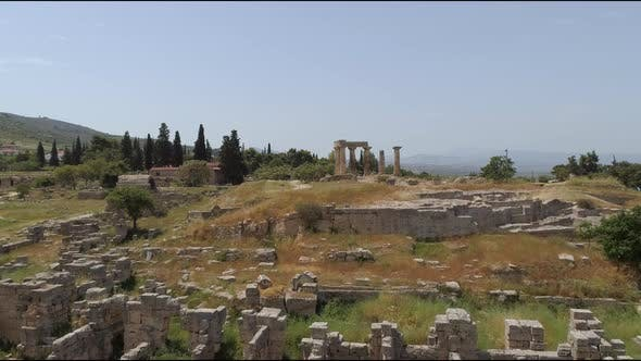 Thumbnail for Aerial view of archeology field near a village, Greece.