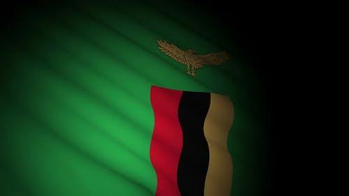 Sambia Flagge weht im Wind