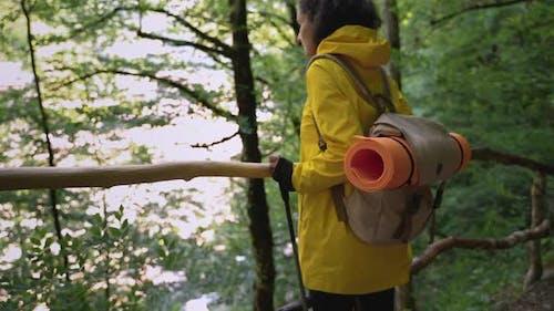 Hiker Taking a Rest to Enjoy Forest Landscape