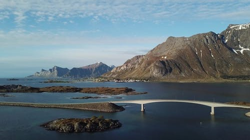 Norwegian landscape, view of the bridge over the fjord