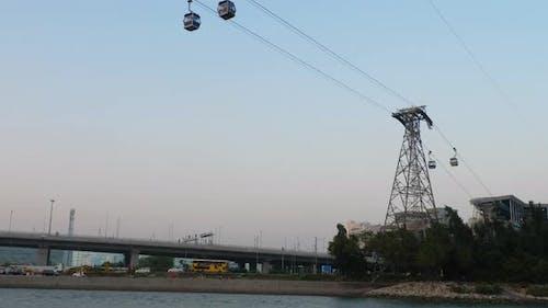 Cable Car To Big Buddha in Lantau Island at Sunset
