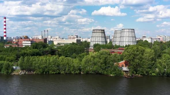 Big modern city and the pond