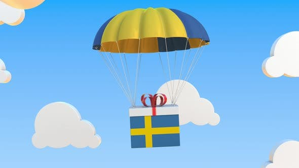 Thumbnail for Carton with Flag of Sweden Falls with a Parachute