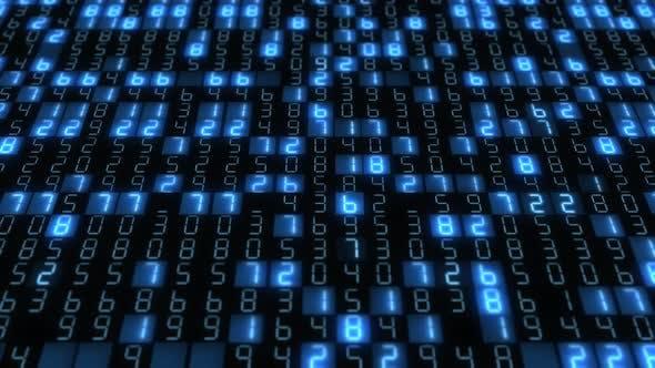 Thumbnail for Digitaler Big Data-Code läuft durch schwarzen und blauen Mainframe