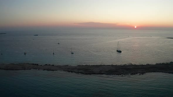 Cover Image for Aerial View of Formentera Island During Sunset