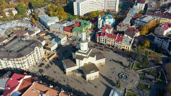 Thumbnail for Drone Video - Aerial View of Ivano-Frankivsk City Historical Center