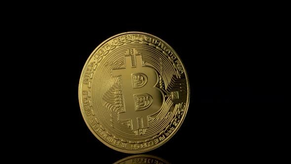 Thumbnail for Bitcoin Fall on a Black Background