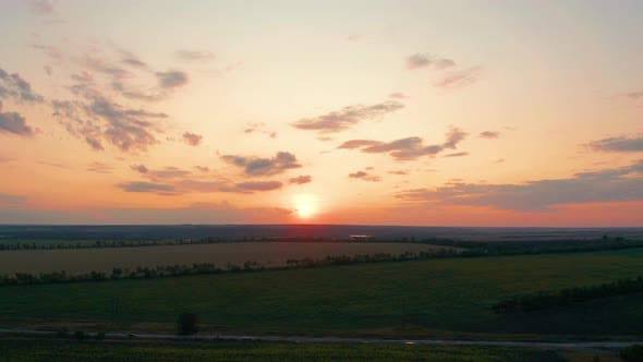 Thumbnail for Aerial View. Beautiful Nature, View on Rural Countryside Landscape and Fields, Shining Sun Sunset