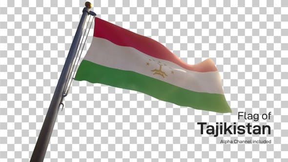 Tajikistan Flag on a Flagpole with Alpha-Channel