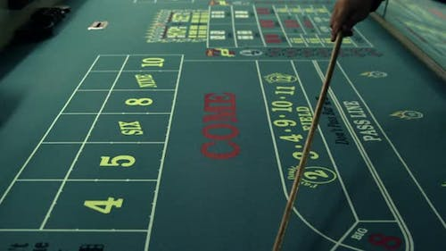Moving dice across a craps table with the stick.