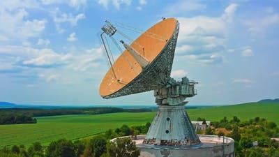 Satellite Dish Technology Industry Sky Clouds Antenna