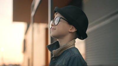 Smart Boy with Glasses. Portrait of Happy Smart Kid Model