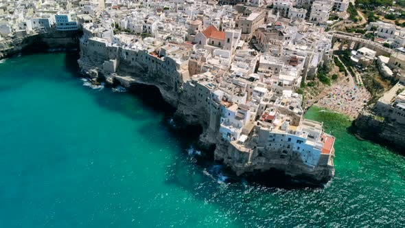 Aerial View Panorama of Town Polignano a Mare, Drone Shot