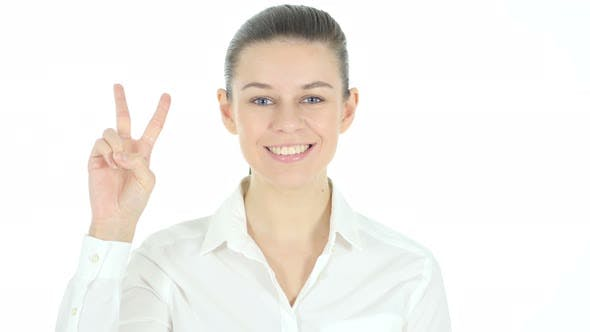 Thumbnail for Victory Sign by Woman, White Background