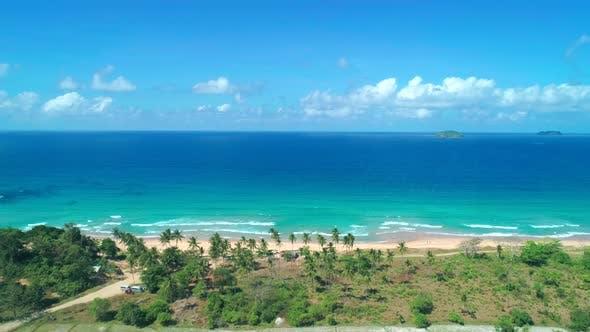 Thumbnail for Aerial View Tropical Sandy Beach Bay Blue Water