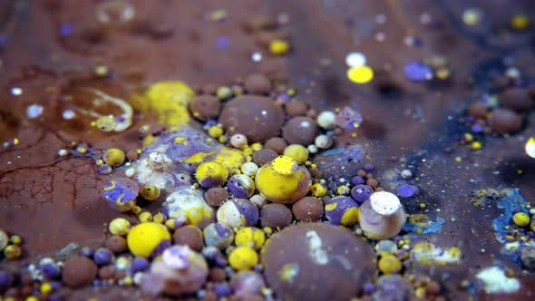 Abstract Colorful Acrylic And Food Paint Bubbles On Water  10