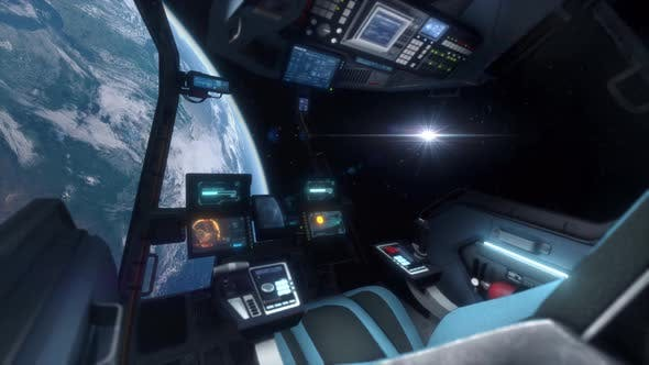 Thumbnail for Spaceship Cockpit Interior Approaching Planet Earth