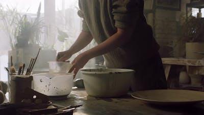 Woman Is Mixing Ceramic Glaze