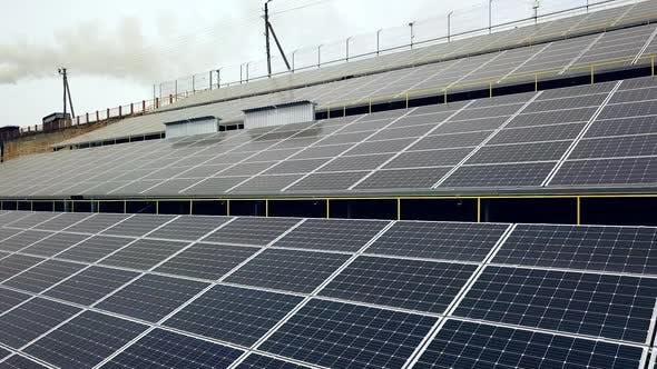 Solar panels. Power station. Blue solar panels. Solar farm. Source of ecological renewable energy.