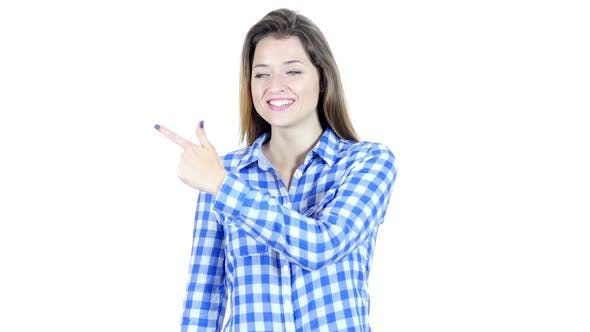 Thumbnail for Woman Pointing Showing Product Aside , White Background
