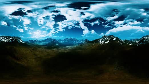VR360 Green Hills and Snowy Peaks