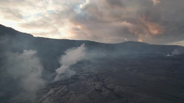 Drone Over Hardened Lava Flow From Erupting Fagradalsfjall Volcano