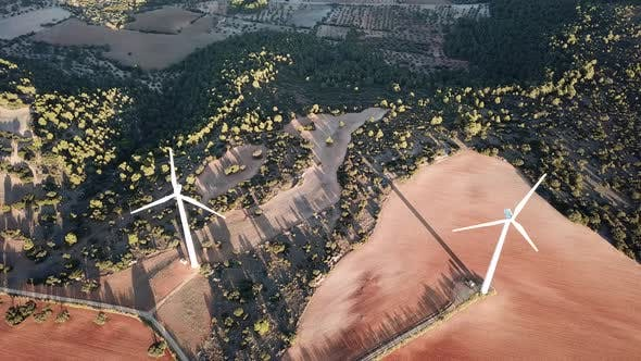 Thumbnail for Aerial View of a Field of Wind Generators During Sunset Near Madrid. Spain in the Fall