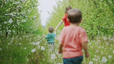 Sons with Mother Running in Dandelions