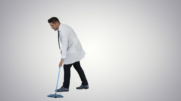 Cover Image for Man in white robe sweeping the floor and talking on gradient