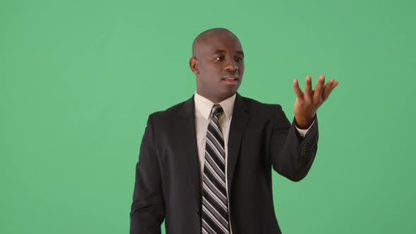 Thumbnail for African American Business holding invisible object