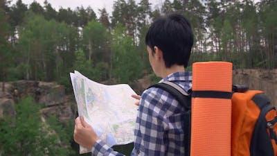 Backpacker Planning Stroll