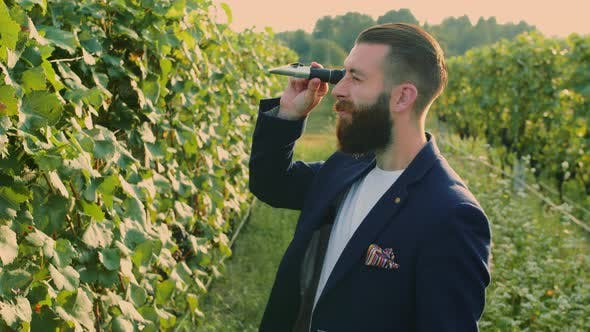 Thumbnail for Man on Vineyard with Special Instrument