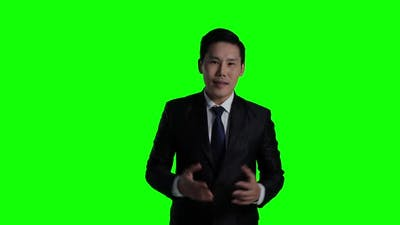 Business man with green screen