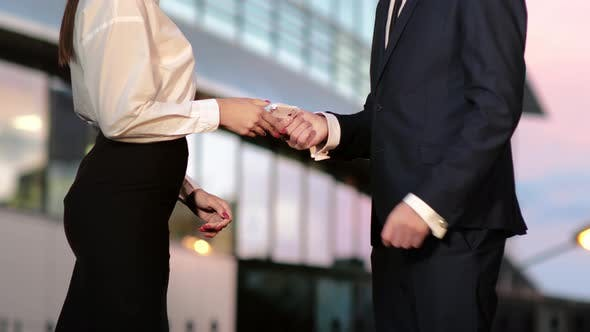 Thumbnail for Businessman Pays Businesswoman in Euros and They Shake Hands After That.
