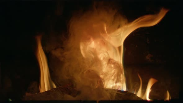 Thumbnail for Burning Logs with Smoke From Fire Red Flame in Fireplace Danger Bonfire Concept