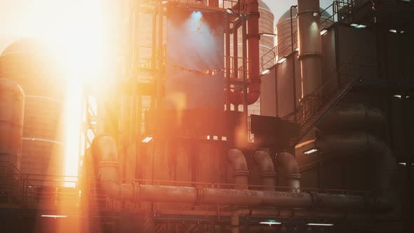 Oil Industry Refinery Factory at Sunset