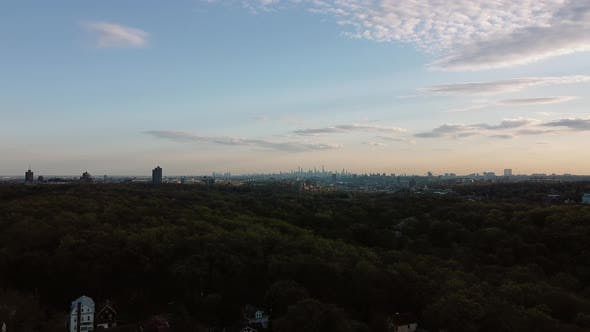 Thumbnail for Aerial Views New York City Skyline Horizon Neighborhood Houses Suburbs Yonkersoverlooking New York