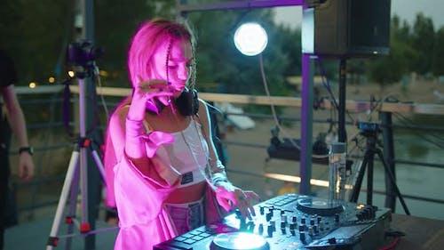 Beautiful Dj Woman Playing Music at Glamorous Party Celebration Dance Enjoying Fancy Social Event